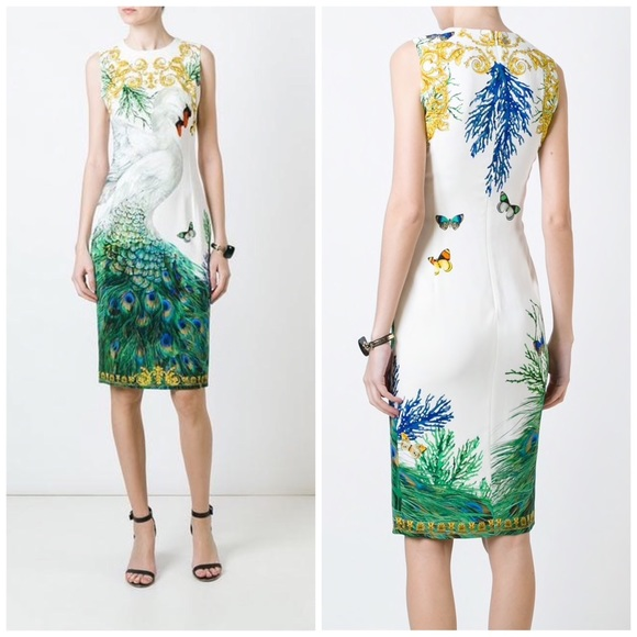 9f74a565fe2a1 Versace Collection Dresses | Swan Peacock Print Fitted Dress | Poshmark